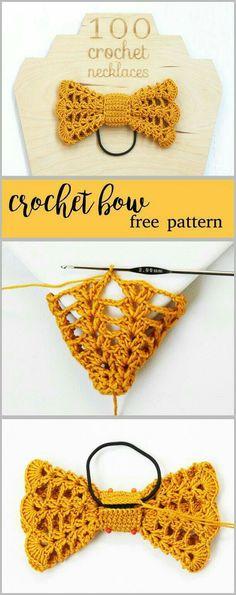 Crochet Bows Free Pattern, Crochet Headband Pattern, Tutorial Crochet, Crochet Beanie, Crochet Hair Accessories, Crochet Hair Styles, Crochet Crafts, Crochet Projects, Yarn Crafts
