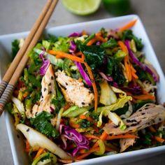 5 Min Spicy Asian Chicken Salad, using a rotisserie chicken.