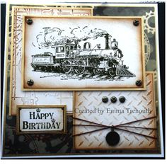 Vintage male card using tim holtz train stamp