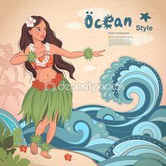 Retro estilo hawaiano hula hermoso de niña — Vector de stock
