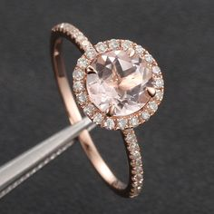 7mm Morganite Round and Diamonds 14k Rose White Or Yellow Gold Engagement Wedding Ring. $750.00, via Etsy.