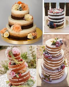 10 Tendências de Casamento para 2016 Beautiful Wedding Cakes, Gorgeous Cakes, Pretty Cakes, Bolos Naked Cake, Naked Cakes, Delicious Cake Recipes, Yummy Cakes, Day Of The Dead Party, Character Cakes