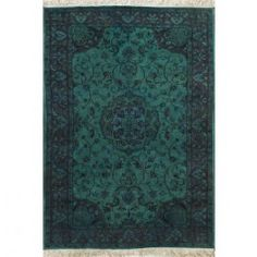 Rugsville Tabriz OverDyed Turquoise Wool Rug 12273 5x8