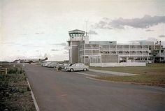 Nairobi Embakasi around 1959.  An Airwork Viscount 800 stands on the apron beyond the tower (left);  another view of the entrance to the Terminal Building (right) - PHOTOs Daphne Seager