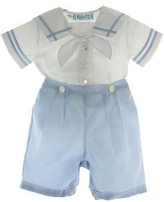 Infant boys heirloom blue & white Prince Bobby suit has square sailor collar with blue trim. Little Boy Outfits, Toddler Outfits, Baby Boy Outfits, Kids Outfits, Sailor Baby, Sailor Outfits, Christening Outfit, Cute Little Boys, Baby Suit