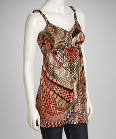 Take a look at this Orange & Brown Zigzag Tank by Leeny on #zulily today! $12.99
