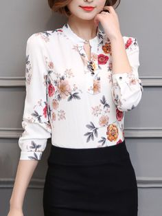 Blouses 2019 Split Neck Floral Long Sleeve Chiffon Blouse The post Blouses 2019 appeared first on Chiffon Diy. Cheap Blouses, Blouses For Women, Girls Long Sleeve Tops, Cheap Womens Tops, Blouse Styles, Clothes, Floral, Blouse Online, Fashion Blouses