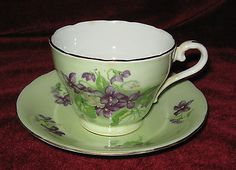 1 - Aynsley Mauve Flowers on a Green Background Tea cup and saucer (2014-096) in Pottery & Glass, Pottery & China, China & Dinnerware   eBay