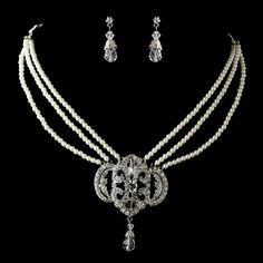 Ivory Pearl and Crystal Vintage Look Bridal Jewelry Set