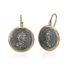 "1884 Collection: coin earrings   The Appia Collection - Meaning ""All Roads Lead to Rome"""
