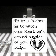 Mothers Day Jewelry Motherhood Quote Necklace New Mom Gift Baby Footprints Heart | eBay