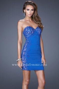 Midnight Blue Two Shoulder Detail Cocktail Dress by La Femme 17044