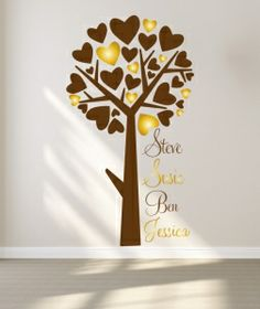 A tree with heart shaped leaves, in two colours with your family names All our wall stickers/decals are available in a great range of sizes and colours - and can be personalised to be truly custom. Family Names, Family Wall, Wall Stickers Family, Dining Room Walls, Heart Shapes, Decals, Range, Leaves, Colours