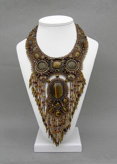 Necklace | Betty Stephan. Bead embroidery