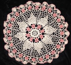 Vintage Hand Crocheted Doily Round Cream Pink Flowers Scalloped Edge Nice Design