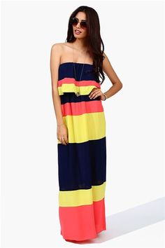 neon stripes maxi dress