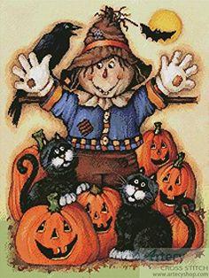 Everything Cross Stitch - Scarecrow& Halloween Pumpkin Patch Image Halloween, Halloween Scarecrow, Halloween Painting, Halloween Prints, Halloween Pictures, Halloween Signs, Holidays Halloween, Scary Halloween, Halloween Pumpkins