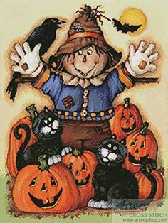 Scarecrows Halloween Pumpkin Patch - Autumn cross stitch pattern designed by Tereena Clarke. Category: Halloween.