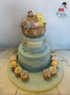 Noah's Ark Christening Cake and mini cupcakes, based on design by Simply Sweet - Cakes and Cupcakes ww.littlecakefairydublin.com www.facebook.com/littlecakefairydublin Mini Cupcakes, Cupcake Cakes, Noahs Ark Cake, Sweet Cakes, Baby Shower Cakes, Christening, Facebook, Desserts, Food