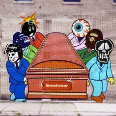 After the death of Street Art. Atlanta based Artist Severe brings you The Death of Streetwear. Streetwear, Funeral, Street Art Love, Hip Hop Art, Sculpture, Outdoor Art, Comic Books Art, Urban Art, Art And Architecture