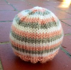 Pink, White, and Gray Stripe Knit Hat for Baby or Child on Etsy, $27.00
