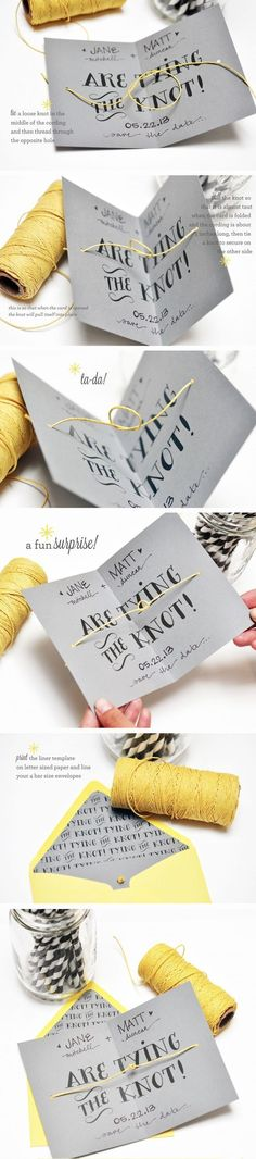 DIY tying the knot cards from Smitten on Paper / http://www.himisspuff.com/diy-wedding-invitations/14/