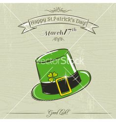 Card for st patricks day with green hat vector  by sunnyfrog on VectorStock®