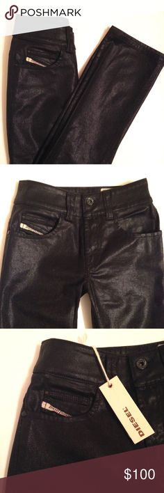 """Diesel 'Brucke' coated denim jeans NWT Black, slim fit, straight leg, coated denim jeans by Diesel. Made in Italy. Brand new with tags. Purchased on a whim and never ended up wearing. 32"""" inseam with 8"""" rise. 98% cotton/2% elastine, so there is a little stretch to the denim. Diesel Jeans Straight Leg"""