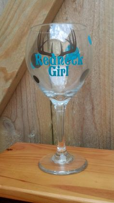 Personalized Antler Redneck Girl Wine Glass by Just4ubyKim on Etsy, $14.00