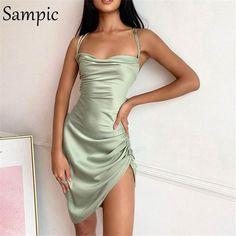 Sampic 2020 Winter Spring Backless Women Split Mini Stain Strap Sleevless Dress Sexy Party Short Bandage Dress Night Club Summer - green / S
