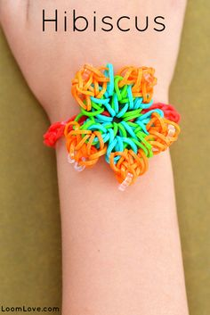 How to make a Rainbow Loom Hibiscus Flower bracelet
