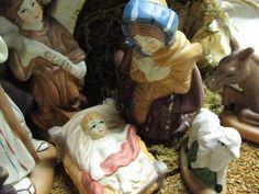 Porcelain nativity figurine set / hand made by cgraceandcompany