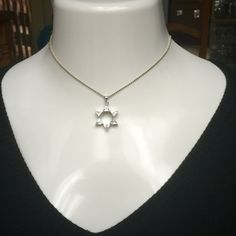 "Sterling Silver CZ Star of David Pendant Necklace Brand New Genuine .925 Sterling Silver Clear Cubic Zirconia Star of David Pendant on Dainty 18"" Necklace. RETAILS $59.00 Sterling Silver  Jewelry Necklaces"