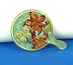 Jay Strongwater Enamel Orchid and Butterfly Mirror/Ring Holder