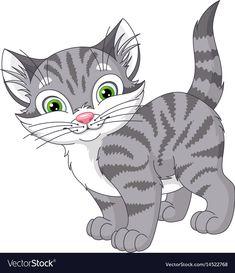 Gray cat vector image on VectorStock Grey Kitten, Grey Cats, Art Drawings For Kids, Animal Drawings, Orange Kittens, Cartoon Sketches, Cat Supplies, Stuffed Animal Patterns, Cat Design