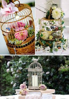 Elegant Wedding Ideas With Decorative Bird Cages.....I think they would be beautiful garden decorations, too.