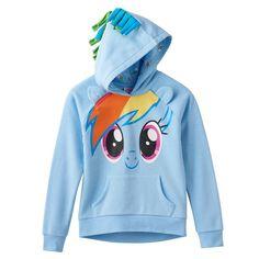 Girls 7-16 My Little Pony Rainbow Dash 3D Hoodie, Light Blue