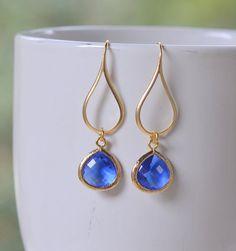 Silver Capri Blue Drop Earrings.  Blue Teardrop Drop by RusticGem, $24.50