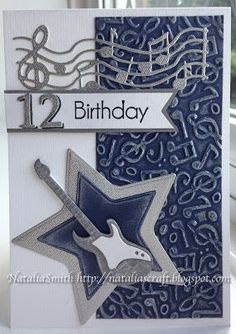 Hello everyone. Here I made some birthday cards for boys. For this card card, Frantic stamper dies guitar and musi. Homemade Birthday Cards, Birthday Cards For Boys, Masculine Birthday Cards, Bday Cards, Masculine Cards, Homemade Cards, Male Birthday, Birthday Boys, Birthday Ideas