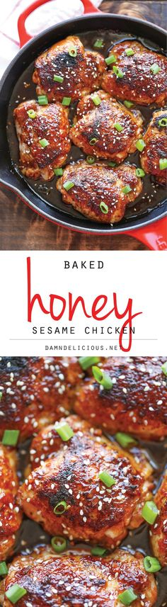 Baked Honey Sesame Chicken - Skip the take-out and try this easy homemade version instead - it's unbelievably crisp-tender and packed with so much flavor!: