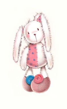 BUTTON BUNNY  add bow to ear sticking up and a button in the middle of it