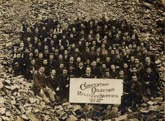 A crowd of conscientious objectors to military service during the first world war at a special prison camp. Aunty Acid, World War One, First World, Conscientious Objector, Work Camp, Pearl Harbor Attack, Culture War, I Quit, Conscience
