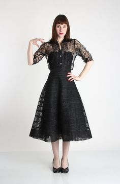 Lace Top & Skirt 1950s Black 2pc by VeraVague on Etsy, $240.00