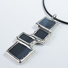 Bricks of Grey - Stained Glass Pendant with Black Cord by Faerieglass