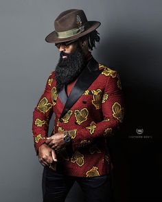 African Wear Styles For Men, African Clothing For Men, Beard Styles For Men, African American Men Fashion, African Male Suits, Black Suit Men, Handsome Black Men, Suit Fashion, Mens Fashion