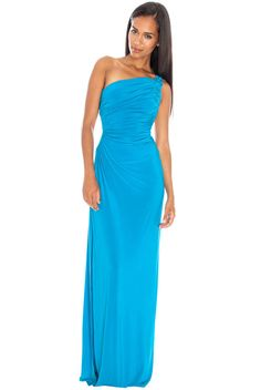 Women's One Shoulder Cut Out Ruched Maxi style of Sharon Stone-ROYAL BLUE -BNWT #CITYGODDESS #BodyconDress #AnyOccasion