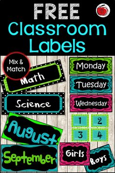 Free labels for your classroom. Bright colorful labels to help you get organized just in time for back to school. Includes subject and calendar labels. Classroom Labels Free, Classroom Freebies, Classroom Themes, Classroom Organization, Classroom Management, Classroom Displays, Organizing, Teaching Activities, Teaching Resources