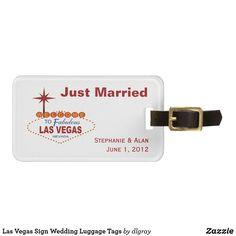 Las Vegas Sign Wedding Luggage Tags