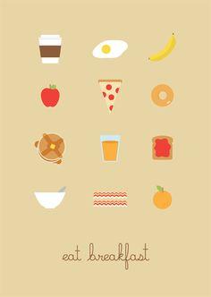 Student Poster. #graphics #poster #breakfast #coffee #eggs #banana #apple #pizza #bagel #pancakes #orange #juice #toast #jam #oatmeal #bacon #porridge