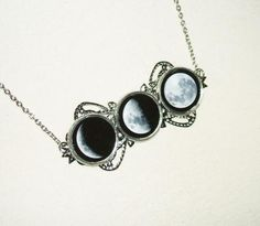 MOON PHASES Necklace Altered ART JEWELRY Celestial Moon Goddess